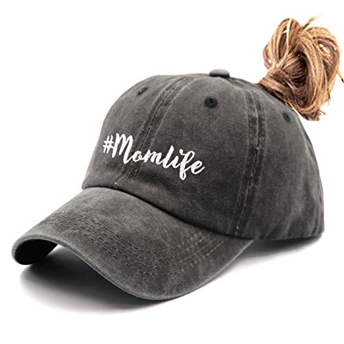 Waldeal Embroidered Adjustable Mom Life Vintage Ponytail Baseball Cap Messy High Buns Dad Hat Gift for Mom/Grandma