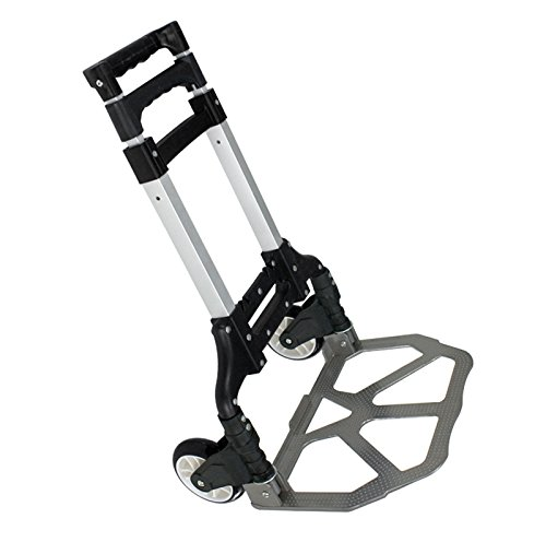ZENY Compact Rolling Luggage Cart 170 lbs Aluminium Folding Dolly Push Hand Truck Collapsible Travel Shopping Supermarket Trolley