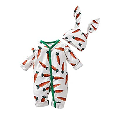 Infant Cartoon Romper Jumpsuit, Baby Boys Girls Carrot Print Long Sleeve Cotton Pajamas Playsuit Rabbit Ears Hat Photography Props Costume: Sports & Outdoors