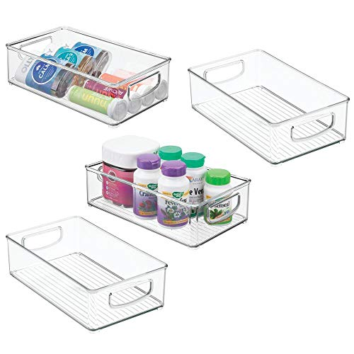 "mDesign Stackable Plastic Storage Organizer Container Bin with Handles for Bathroom - Holds Vitamins, Pills, Supplements, Essential Oils, Medical Supplies, First Aid Supplies - 3"" High, 4 Pack - Clear"
