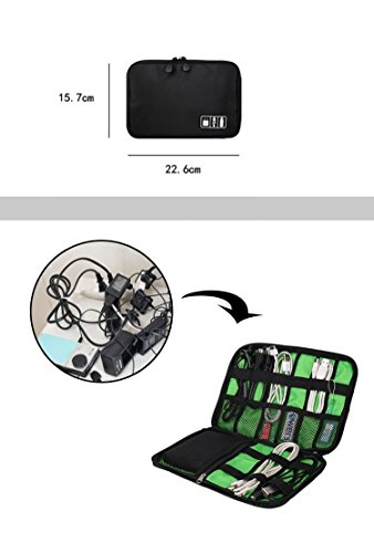 Black Cable Organizer Electronics Accessories Travel Bag USB Drive Bag Healthcare & Grooming Kit by BAIGIO (Image #5)