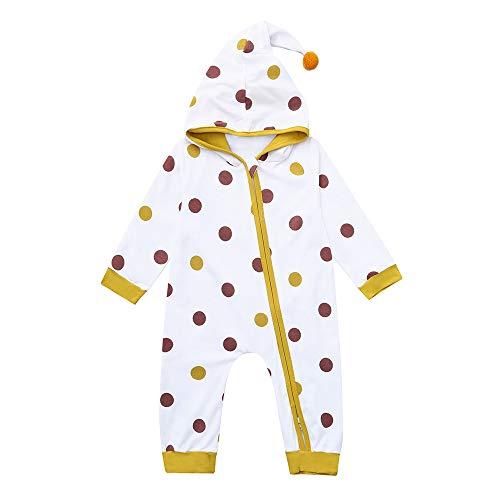 Fartido Newborn Baby Bodysuit Boys Girls Dot Print Hooded Zi