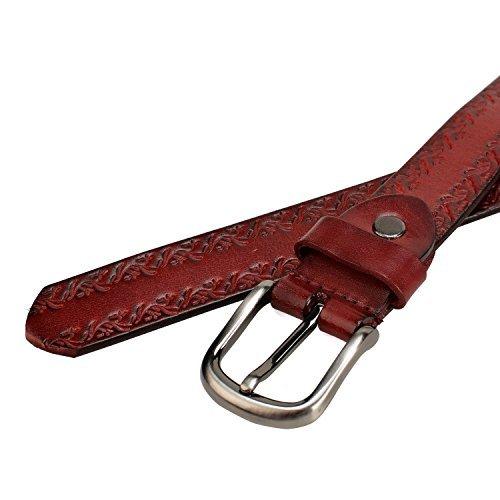 GSG–Fashion en relieve de piel auténtica cinturón Casual cinturón para pantalones vaqueros patrón redondo hebilla cinturón Niza regalo marrón
