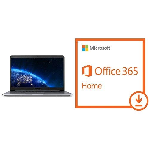 ASUS VivoBook F510UA FHD Laptop, Intel Core i5-8250U, 8GB RAM, 1TB HDD, USB-C, NanoEdge Display, Fingerprint, Windows 10, Star Gray (F510UA-AH51) with Microsoft Office 365 Home