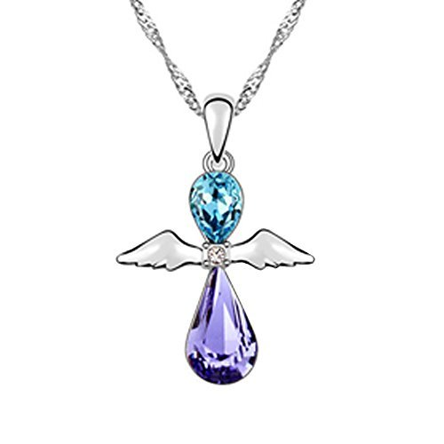 Fortunal NTSPUR Little Angel pendant necklace blue and purple crystals with gift box