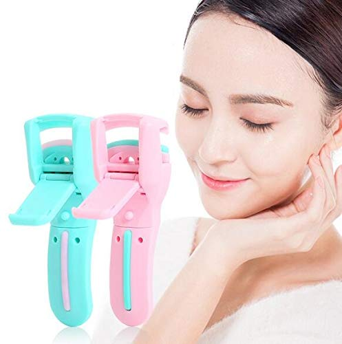 (Auch 2 pcs Portable Mini Eyelash Curlers Plastic Eyelash Curler with Non-Stick Silicone Permanent Pad)