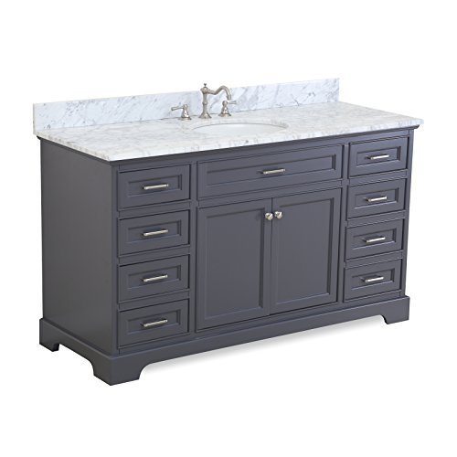 Aria 60-inch Single Bathroom Vanity (Carrara/Charcoal Gray): Includes a Charcoal Gray Cabinet with Soft Close Drawers, Authentic Italian Carrara Marble Countertop, and White Ceramic ()