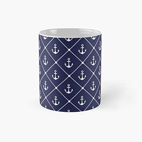 Navy Blue And White Nautical Rope Anchor Pattern Classic Mug Amazon Co Uk Kitchen Home
