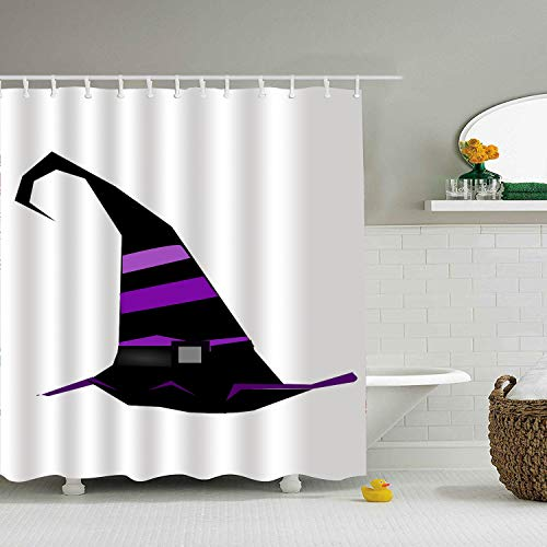 BiesMo Witch Hat Sorceress Stripes Purple Pink Black Mildew Resistant Shower Curtain Waterproof Polyester Bathroom Eco-Friendly Shower Curtain Liner