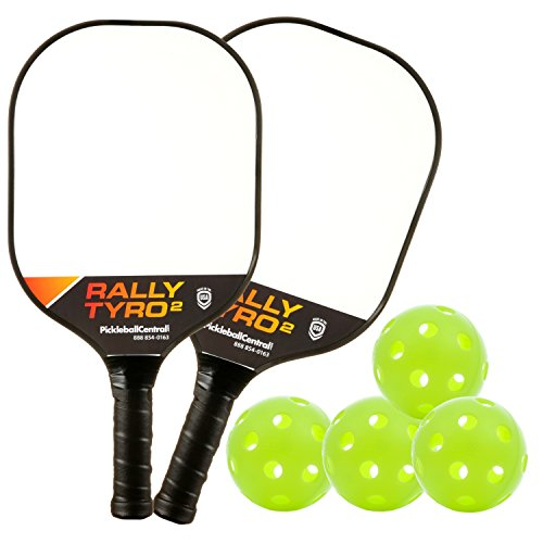 PickleballCentral Rally Tyro 2 Pickleball 2 Player Paddle and Ball Set by Includes Two (2) Rackets and Four (4) Balls | Advanced Composite PolyPropylene Honeycomb Core and Fiberglass Face