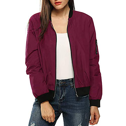 Pandaie Womens ... Jacket Coat,Outwear Womens Classic Quilted Jacket Short Bomber Jacket Coat RD/L