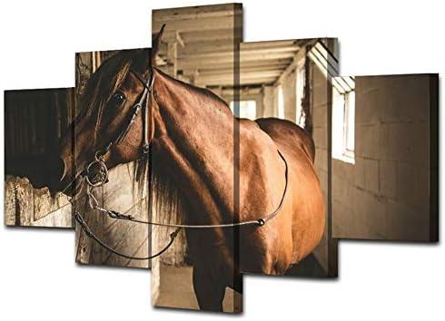 Yuanyuan Art Wall Painting 5 paneles Lienzo pintura pared Animal caballo cobertizo de madera la luz del sol moderno para decoración del hogar Cartel impreso en HD impresas sin Marco imágenes 150X100CM