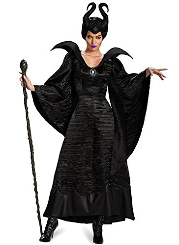 Edith qi Black Queen Gown Costume with Horns Headpiece (Make Maleficent Horns)