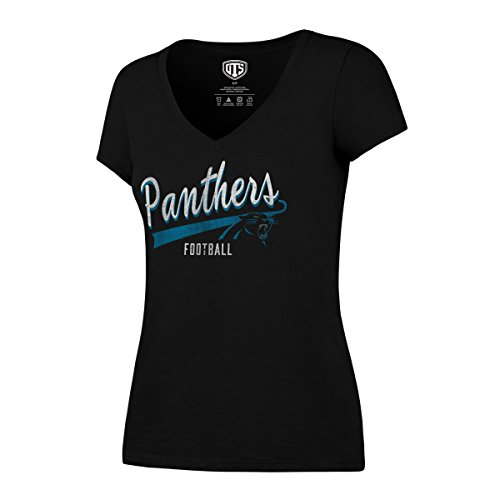 OTS NFL Carolina Panthers Women's Rival V-Neck Tee, Distressed Cedarville, X-Large (Razorback Bowl Shirt)