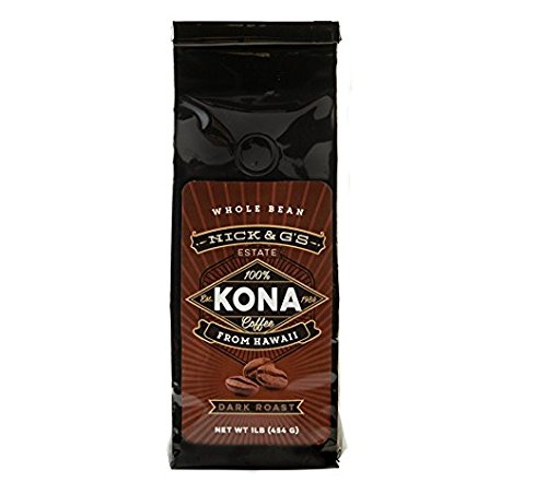 Nick & G's Kona Coffee Whole Bean Bag - Gourmet, 100% Estate Grown, Private Reserve, Hawaiian Made, Fresh, Not a Blend, Premium, Fresh Farm, Great Hawaii Flavor, Gift Idea (Dark Roast, 7oz) by Nick and G's