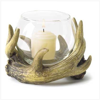 Small Antique Antler Hunters Lodge Tea Light Candleholder