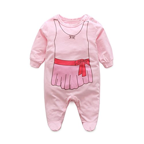 3401 T-shirt (GBSELL Newborn Infant Baby Girls Long Sleeve Dress Print Romper Jumpsuit Outfits Clothes (Pink, 18-24M))