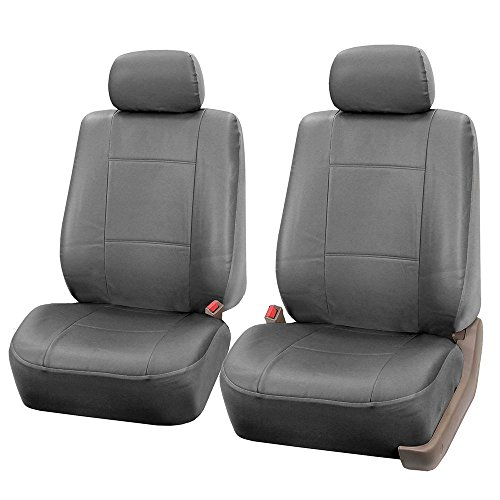 (FH GROUP FH-PU001102 Classic Synthetic Leather Pair Set Car Seat Covers, Solid Gray- Fit Most Car, Truck, Suv, or Van)