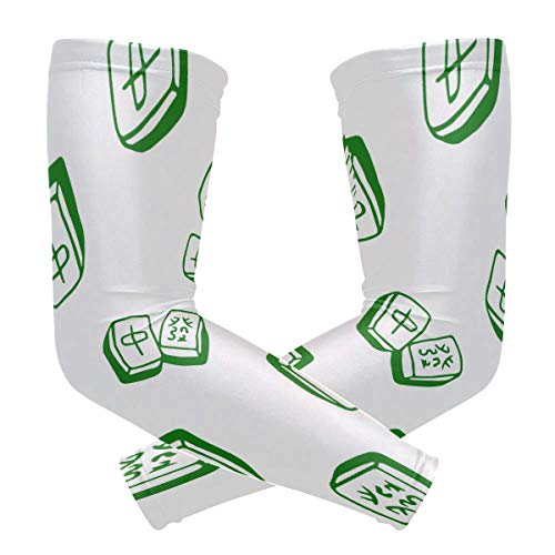 Chinese Mahjong Tile Plaid Arm Sleeve Compression Elbow UV Sun Protection Sleeve for Driving