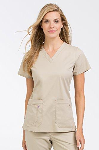Two Pocket Scrub Top Khaki (Med Couture Women's 'MC2' Olivia Scrub Top, Khaki, X-Small)