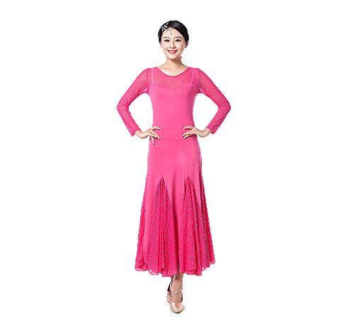Garza Altalena Le Lunga Liscia Per E Rossa Latino Rosa Danza Accessori Valzer Vestito Xiangpai Da Donne Partito Moderna Manica Abbigliamento Tango Sala Ballo xq0w6U8H7