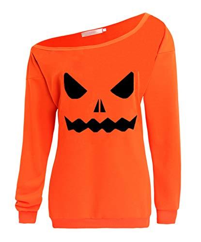 GSVIBK Womens Halloween Sweatshirts Halloween Pumpkin Face Long Sleeve Sweatshirts Off Shoulder Halloween Shirts 225 Orange XL ()