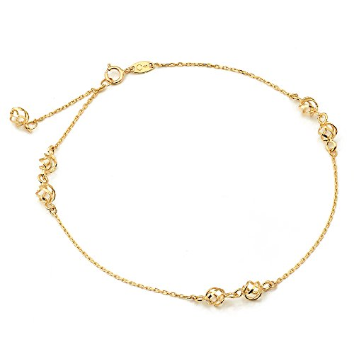 LOVEBLING 10K Yellow Gold .50mm Diamond Cut Rolo Chain with 3 Designer Pendants Anklet Adjustable 9