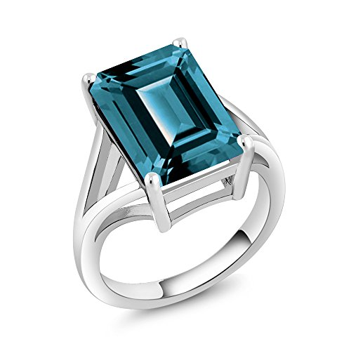 Large Blue Topaz Ring - 925 Sterling Silver London Blue Topaz Women's Solitaire Ring (7.10 Ct Emerald Cut, Gemstone Birthstone (Size 7)