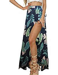 d37dad227f Womens Boho Floral Tie Up Waist Summer Beach Wrap Cover Up Maxi Skirt