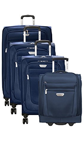 Ricardo Eureka 4 Piece Deluxe Superlight Luggage Set: 30'', 26'', 21'', & Underseat Bag (Royal Blue) by Ricardo Beverly Hills