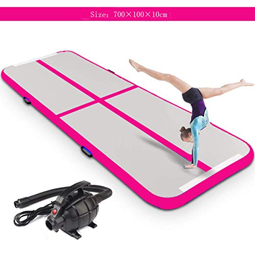 """Inflatable Gymnastic Mat Air Track Tumbling Mat with Pump Air Floor Practice Gymnastics Cheerleading Tumbling Martial Arts for Home Use, Beach, Park and Water (Pink, 23'x 3.3'x 4"""")"""
