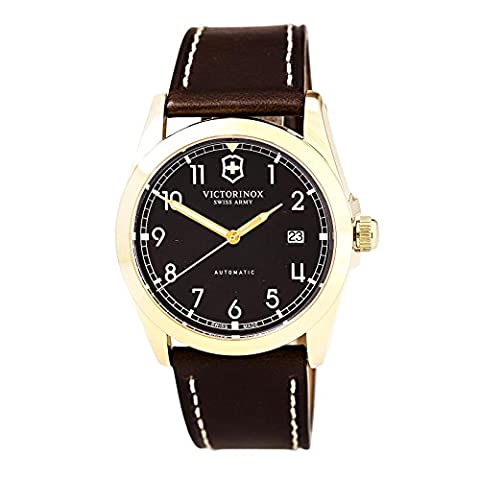 Victorinox Men's 241646 Infantry Mechanical Brown Dial Brown Leather Strap Watch (Swiss Mechanical Automatic)