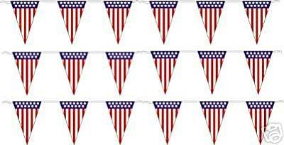 Pennant Shaped Flag - V-Shaped American Flag Pennants Streamers 60' String