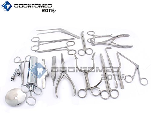 T OF 16 PCS ( ENT ) EAR AND NOSE INSTRUMENTS FORCEPS VIENNA NASAL SPECULUM HARTMAN ALLIGATOR ! EAR SYRINGE SCISSORS ODM (Nasal Forceps)