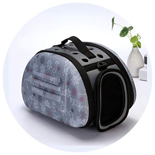 shine-hearty Cat Out Bag Print Puppy Bag Outdoor Folding Portable Dog Bag Skin Comfort Breathable Space Packs Puppy Chi Vava Teddy,Gray,36x23x20cm ()