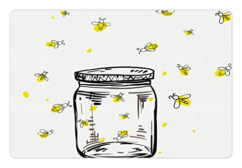Lunarable Firefly Pet Mat for Food and Water, Hand Drawn Yellow Spotted Fireflies Flying Around a Jar Artistic Design, Rectangle Non-Slip Rubber Mat for Dogs and Cats, Black Umber and Yellow]()