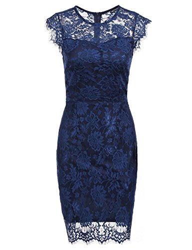 HOTOUCH Women Casual O-Neck Cap Sleeve Floral Lace Package Hip Bodycon Slim Sexy Dress (Navy Blue S)