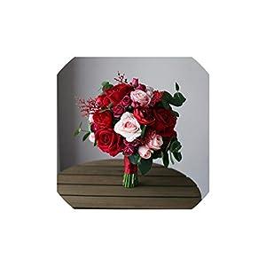Fashion-LN Red Bridal Rose Bouquet Flowers Vintage Artificial Pink Silk Wedding Bridesmaid Bouquet 99