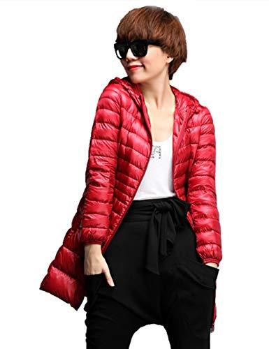 Longitud Peso Abajo Encapuchado Invierno Chaquetas Rojo Abrigos Para Empacable Media Mujer Ligero Santimon Calentar qYwTI