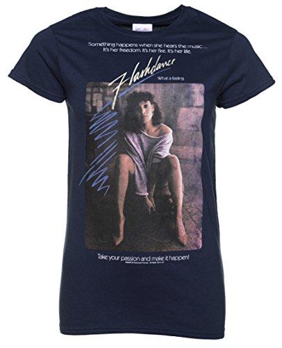 Womens Flashdance Movie Poster Navy T Shirt