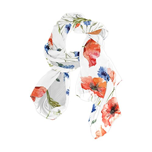 (Cooper girl Watercolor Poppy Silk Scarf Shawl Wrap for Women Girls)