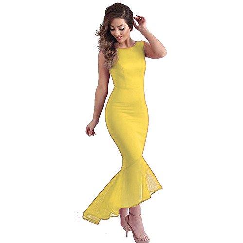 amp;S lunga MEI abito Donna Party Elegante pizzo Vintage maxi abito Palla Yellow Prom sera gdzHSdqwx