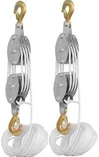 KCHEX>LOT 2 4000LB 2 Ton 65FT Poly Rope Hoist Pulley Block