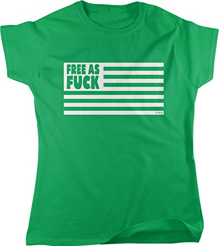 Hoodteez Free as Fuck American Flag Women's T-Shirt, L Kelly