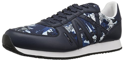 Armani Exchange Men Exotic Jungle Print Retro Running Fashion Sneaker Exotic White