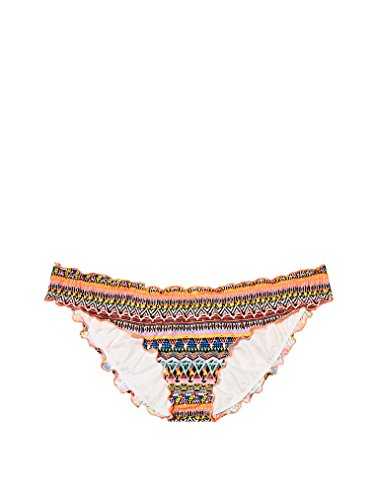 Victoria's Secret Ruched Back Ruffled Cheeky Low-Rise Bottom Multi Zig Zag Geo XS