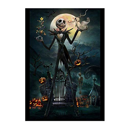Happy Halloween - Full Drill Skull Ghost Pumpkin - 5D DIY Diamond Painting by Number Kits Franterd Embroidery Rhinestone Pasted Cross Stitch Handcraft Arts Craft Home Decor -