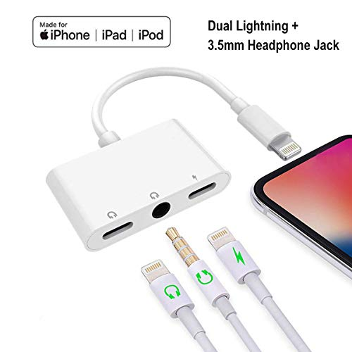 Lighting to 3.5mm Headphone Jack Adapter 3 in 1 Dual Audio and Charge Headphone Splitter with Fast and Adaptive Charging Compatible for iPhone 11/iPad/iPod Support iOS 13