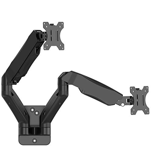 WALI Dual LCD Monitor Fully Adjustable Gas Spring Wall Mount Fit 2 Screens VESA up to 27 inch, 14.3 lbs. Weight Capacity per Arm (GSWM002), Black ()