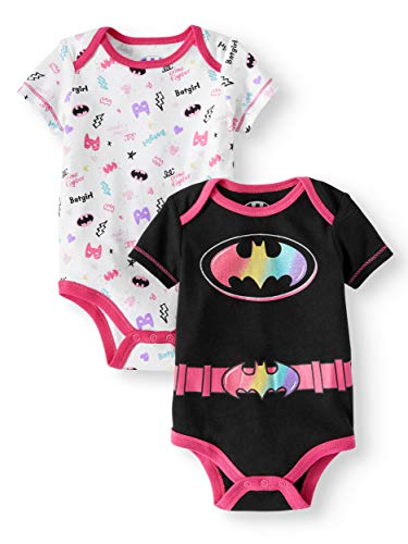 DC Comics Batgirl Infant Bodysuit 2-Pack (18 Months) Black,White